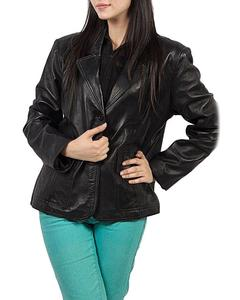 Black Leather Women's Jacket With Collar Neck Design