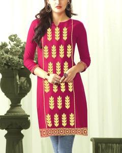 Shocking Pink Embroidery Stitch Kurta for Women - Skm10095