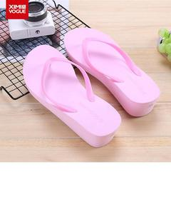 High Heels casual Flip Flop Slippers-Pink-Size:38