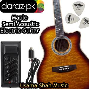 Miaple Recommended For Semi Acoustic Guitar Maple Electric Cutaway 41 Jumbo Guitar (Design By Brazil) With Gig Bag, Belt, Plectrum Complete Pack