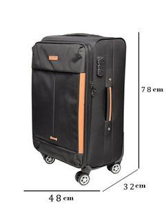 Toro Spinner 4 Wheels Soft Trolley Suitcase - Black 80 Cm