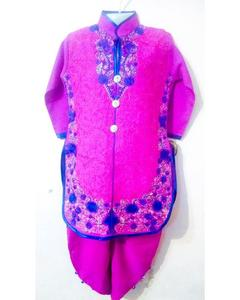 Linen Kurta Shalwar Embroidered Suit For Girls - Shocking Pink