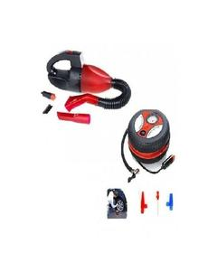 Arbiapk Pack of 2 - Car Vacuum Cleaner & Car Air Compressor Pump - Red