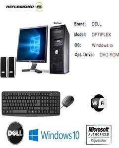 OptiPlex 780/380 USFF Tower Intel Core 2 Duo 3.0 GHz 4 GB RAM 500 GB HD DVD Win 10 Pro 64-Bit + Dell 17 LCD + Dell Mouse & Keyboard - Black - Certified PC