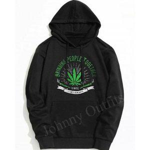 Black Weed Printed Hoodie. GNL-KH14