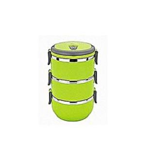 bkshop3 Layer Stainless Steel Round Lunch Box - Green