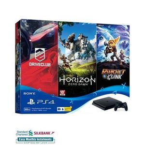 PS4 Hits Bundle: PlayStation 4 500GB + 3 Hit Games + 3 Months PlayStation Plus Membership Card