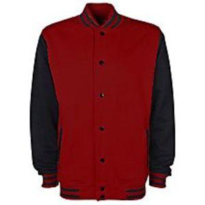 EssentialsMaroon & Black Fleece Varsity Baseball Jacket For Men