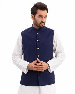 Navy Blue Cotton Waistcoat For Men