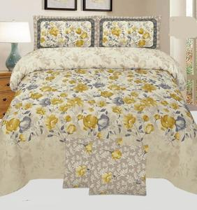 Multicolor Cotton King Size Bed Sheet With 2 Pillows Covers