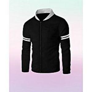 AybeezBlack Baseball Collar Front Zipper Jacket For Men