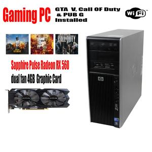 HP Z400 Gaming  PC Intel Xeon Quad Core Max turbo Upto 3.46 GHz - 16GB DDR3 Ram - 500GB  Hard drive -128 SSD  WIFI - 4GB DDR5 Graphic card 3 Games Installed