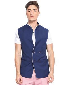 Blue Cotton Waistcoat For Men
