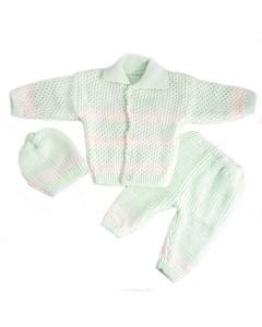 3 Pcs Green Collar Sweater Set for Newborn