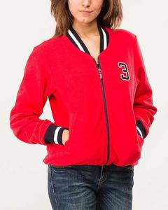 Red Embroided Zipper Jacket