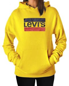 LEVI'S Stylish Yellow Printed Hoodie For Women