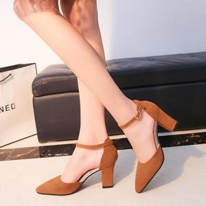 New Women's Ankle Strap Sandals Pointy Toe Mid Block Heels Casual Party Prom Dress Work Office Business Suede Leather Shoes