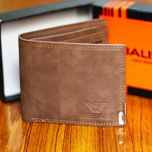 ARMANI LIGHT BROWN GENUINE LEATHER WALLET WITH STANDARD CARD HOLDERS FOR MEN