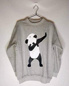 Grey Dab Panda Print Sweat Shirt For Her