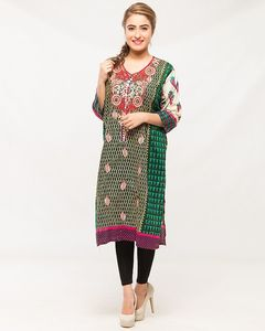 Reigningstones Green Cotton Lawn Embroidered Kurta For Women