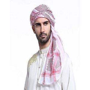 Blended Cotton Arabic Head Scarf For Men - Red