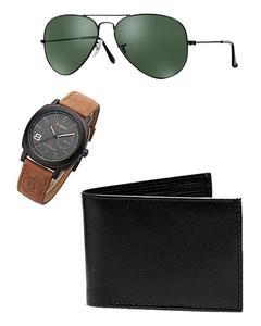 Black Leather Wallet & Black Dial Curren Watch Aviator Sunglasses