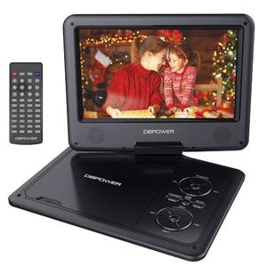 """DBPOWER 9.5"""" Portable DVD Player with Swivel Screen, 5-Hour Built-in Rechargeable Battery, Support CD/DVD/SD Card/USB, with Car Charger and Power Adaptor (Black"""