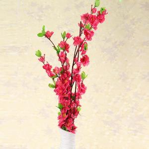 Artificial Cherry Spring Plum Peach Branch Silk Flower Tree Decor (rose red)