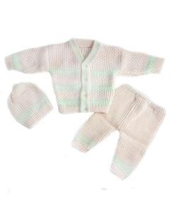 3 Pcs Peach VNeck Sweater Set for Newborn