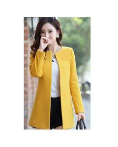 Yellow Fleece Stylish O-Neck Trench Long Coat For Women