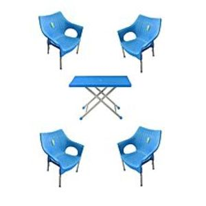 CHIEF(Boss) Set Of 4 Rattan Plastic Chairs And Plastic Table - Blue