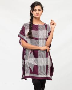Valerie's Poncho own developed printed fabric very peachy and soft light weight fabric