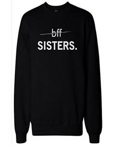 Black Bffsister Print Fleece Sweatshirt for Women