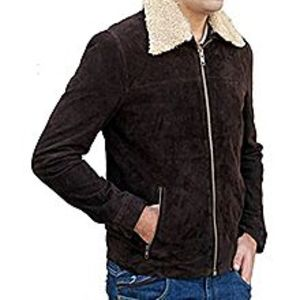 TASHCO Clothing Men's Brown Suede Leather Jacket