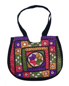 Multicolor Cotton U-Shape Shoulder Handbag for Women