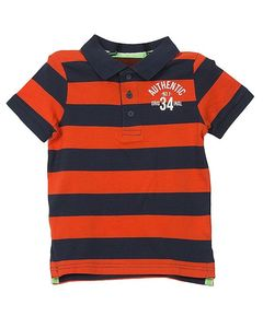 Cotton Tree Red & Blue Striped Cotton Polo Shirt for Boys
