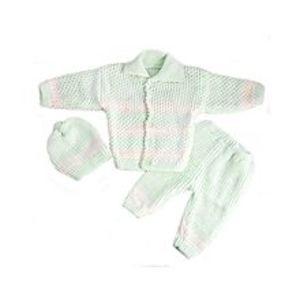 Peekaboo3 Pcs Green Collar Sweater Set for Newborn