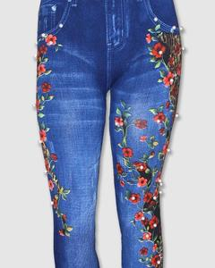 Fancy Pearls And Studs Decorated Jeans Leggings/Tights With Daffodils Print For Women - Pdl-004
