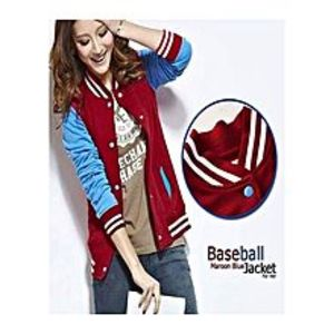 SYSSYS Red Fleece Baseball Red Jacket For Her