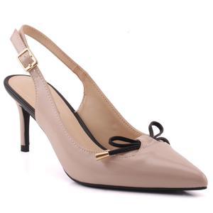 "Women ""Eudora""Closed Pointed Toe Bow Design Sling Back Patent Stiletto Heel Sandals   L31767"