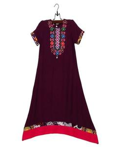 Purple Malai Lawn Embroidered Kurta For Girls