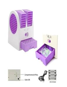 Royal Traders Mini Air Conditioner Perfumed Fan, USB and 3 AA Battery Operated - Purple