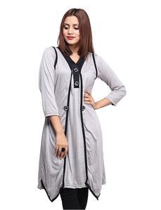 Shrug Style Stylish Kurti For Women Grey
