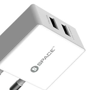 Charger USB Dual Port Space WC-102 2.4A Output White (Brand Warranty)