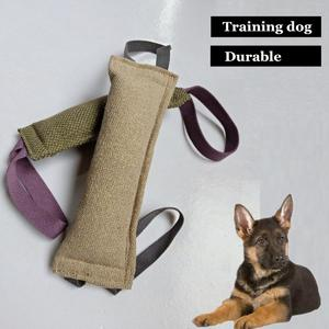 Dog Bite Tug Durable Jute Pet Training Chewing Toy 2 Handles Chewing Play Train # Cream