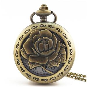 UR Rose Flower Carved Vintage Antique Round Dial Quartz Pocket Watch Clock