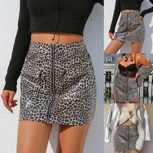 3cb6d5a4dcb54 Fashion Women Sexy Leopard Print Zipper Leather Short Mini Tight buttocks  Skirt