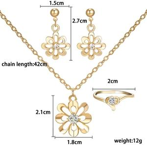 Elegant Women Jewelry Set gold Flower Pendant Necklaces Earring Rings