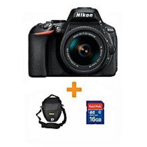 NikonD5600 - DSLR Camera 24.2 MP with AF-P 18-55 16GB Card-Bag BLK