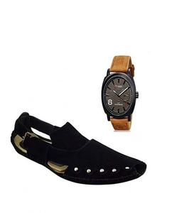 Combo Of 2 Black Peshawari Sandals+Curren Strap Watch